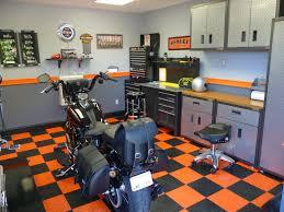 garage design ideas with cabinet and hanger compartment for the garage design ideas with modern minimalist interior using orange and black tile flooring decoration ideas for