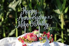 personalized cake topper happy anniversary names personalized cake topper the