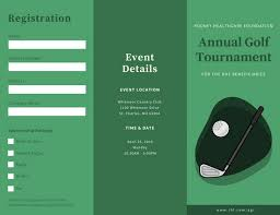 green simple illustrated golf tournament trifold brochure