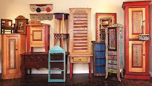 Mexican Pine Bookcase Leslie Flynt Furniture Folk Art Decorative Accessories Gifts