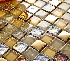 Online Get Cheap Gold Kitchen by Aliexpress Com Buy Gold Foil Glaze Crystal Glass Mosaic Tiles