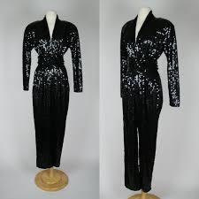 sleeve sequin jumpsuit 1980 39 s black sequin jumpsuit w from dottie mae