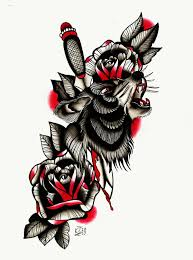 new wolf pierced with a dagger and blooded roses tattoo