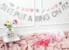 what do you put on a bridal shower registry he put a ring on it banner bachelorette party decorations