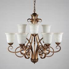 9 light glass shade two tiered shabby chic chandelier