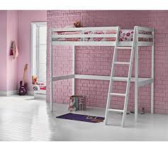 Buy HOME Kaycie Wooden High Sleeper Single Bed Frame White At - High bunk beds