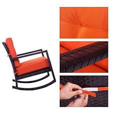 Armchair Glider Amazon Com Merax Cushioned Rattan Rocker Chair Rocking Armchair