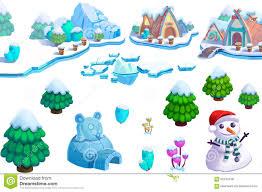 illustration winter snow ice world theme elements design set 1