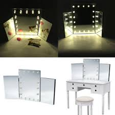 light up makeup table makeup mirror with led light up dressing table large tri folding