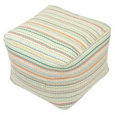 hampton bay rigby stripe square outdoor pouf cushion with handle