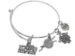 charm bracelet for knitting 3 pack charm bracelets for women silver bangle charms