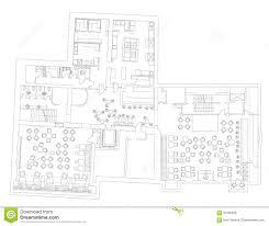 standard cafe furniture symbols on floor plans stock vector
