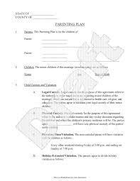 Sample Legal Guardianship Letter by Parenting Plan Child Custody Agreement Template With Sample