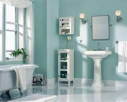 turquoise accents wall painted for bathroom design idea using