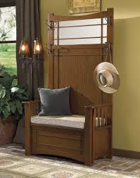 furniture modern oak wood cushioned hall storage bench with coat