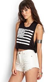 Model American Flag Lyst Forever 21 American Flag Crop Top In Black