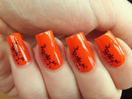 orange and black nail art designs
