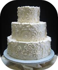 elegant ivory wedding cake with fondant lace applique flickr