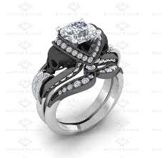 white gold bridal sets sapphire studios aphrodite 1 85ct white black gold skull bridal set