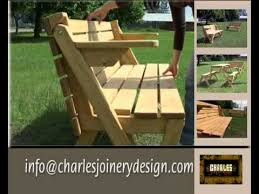 Foldable Picnic Table Plans by Folding Picnic Bench And Table Youtube