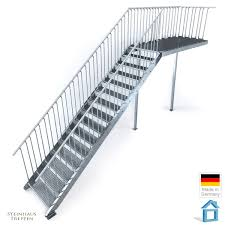 steinhaus treppen außentreppe stahl mit 16 steigungen 100 cm breite und podest 162