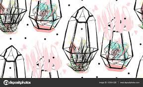 resume modernos terrarios suculentas mano dibujada vector resumen de patrones sin fisuras con terrario