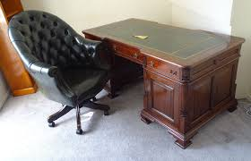 antique solid mahogany leather top double sided partners desk