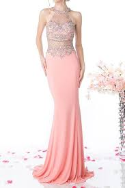 blush pink great gatsby theme prom formal gown detailed mesh