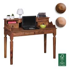 Schreibtisch 130 Cm Finebuy Schreibtisch Massivholz Sekretär 115 X 100 X 60 Cm Mit 3