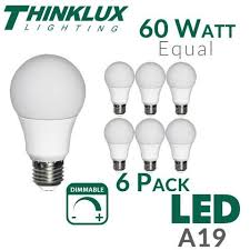 led light bulb thinklux a19 60w equal dimmable u2013 earthled com