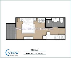 Studio Plans by Unit Plan Type B 3 Studio 25 Sq M C View Residence Pattaya