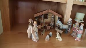 home interior nativity a beautiful carved nativity set on the shelf of a home for