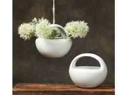 sphere lunar ceramic hanging bowl planter in white