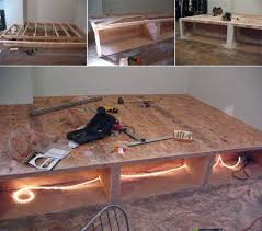 Platform Bed Frame Diy by Look Diy Platform Bed With Storage Platform Beds Construction