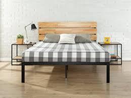Wood And Metal Bed Frames Zinus Sonoma Metal Wood Platform Bed With Wood Slat