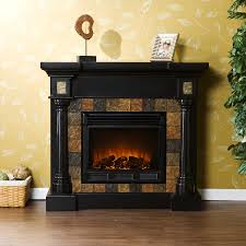 carrington faux slate convertible electric fireplace blac