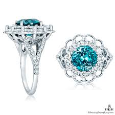 zircon engagement rings blue zircon in a signature open lace designer