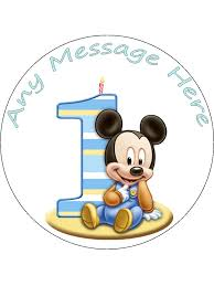 Cake Decorations For 1st Birthday Personalised Edible Icing Cake Topper 7 5 Mickey Mouse 1st Birthday
