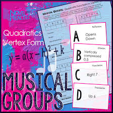 quadratic functions in vertex form musical groups group