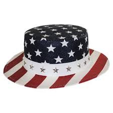 Usa Flag Hats Karen Keith Usa Flag Toyo Straw Boater Hat Star Crown Straw Hats