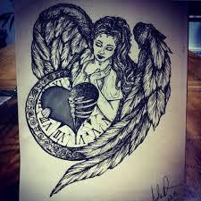 guardian angel tattoo design clock awesome pinterest