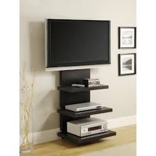 Tv Stand Cabinet Design Black Polished Teak Wood Floating Tv Stand With Three Tier Shelves