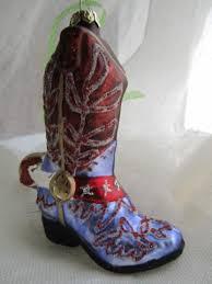 a thousand faces cowboy boot ornament purple