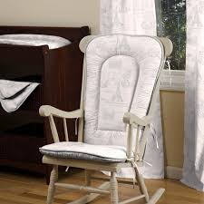 Rocking Chair Cushion Sets For Nursery White Wooden Rocking Chair With White Fabric Cushion And