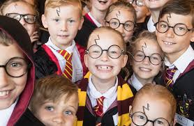 children dress up as harry potter at smithills hall in bolton uk