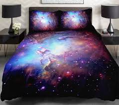 Space Bed Set 3d Duvet Cover Printing Galaxy On Blue Sheets And Outer Space