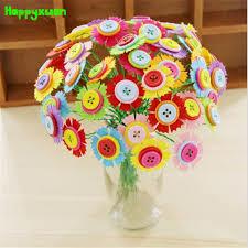 button flowers happyxuan diy felt button flower craft kits kindergarten kids