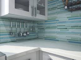 modern kitchen with green blue glass peel stick mosaic backsplash