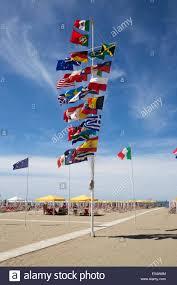 Beach Flag Pole Assortment Of National Flags On Beach Flagpole Viareggio Tuscany