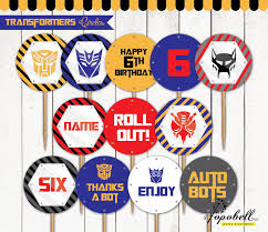 printable transformers birthday banner transformers cupcake toppers for transformers birthday by popobell